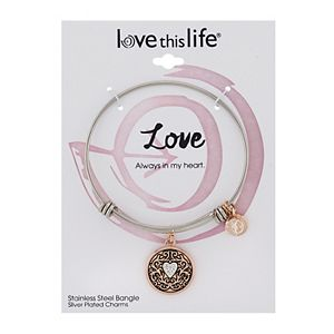 "LovethisLife® Two-Tone ""Love"" Heart Bangle Bracelet"