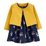Baby Girl Carter's 2-Piece Floral Bodysuit Dress & Cardigan Set