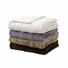 Sleep Soft Luxe Embossed Faux-Fur Throw