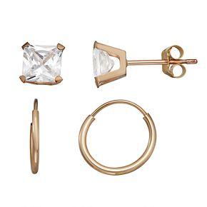 Taylor Grace 10k Gold Endless Hoop & Cubic Zirconia Stud Earring Set