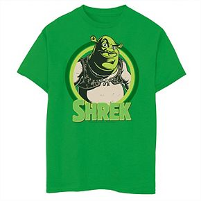 Boys 8-20 Shrek In Circles Cartoon Portrait Logo Tee