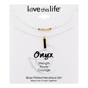 LovethisLife® Onyx Bar & Beaded Necklace Set