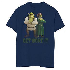 Boys 8-20 Shrek Fiona & Shrek Get Ogre It Text Poster Tee