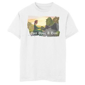 Boys 8-20 Shrek Fiona & Shrek Once Upon A Time Text Poster Tee