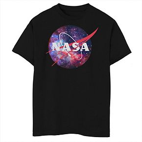 Boys 8-20 NASA Purple Pink Mix Galaxy Style Logo Graphic Tee
