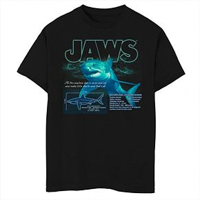 Boys 8-20 Jaws Great White Shark Description Blueprint Graphic Tee