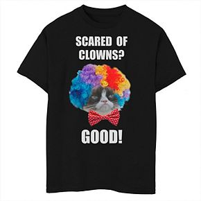 Boys 8-20 Grumpy Cat Halloween Scared Of Clowns Good Graphic Tee