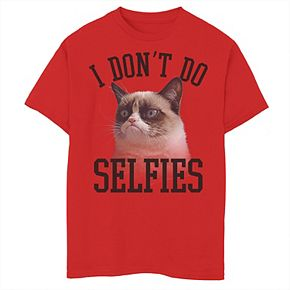 Boys 8-20 Grumpy Cat No Selfies Graphic Tee