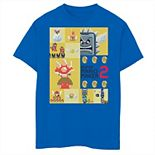 Boys 8-20 Nintendo Super Mario Maker 2 Character Gameplay Panel Logo Graphic Tee