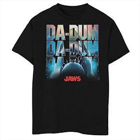 Boys 8-20 Jaws Da-Dum Da-Dum Da-Dum Build-Up FIll Logo Graphic Tee