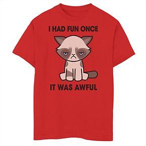 Boys 8-20 Grumpy Cat I Had Fun Once It Was Awful Simple Cartoon Cat Graphic Tee