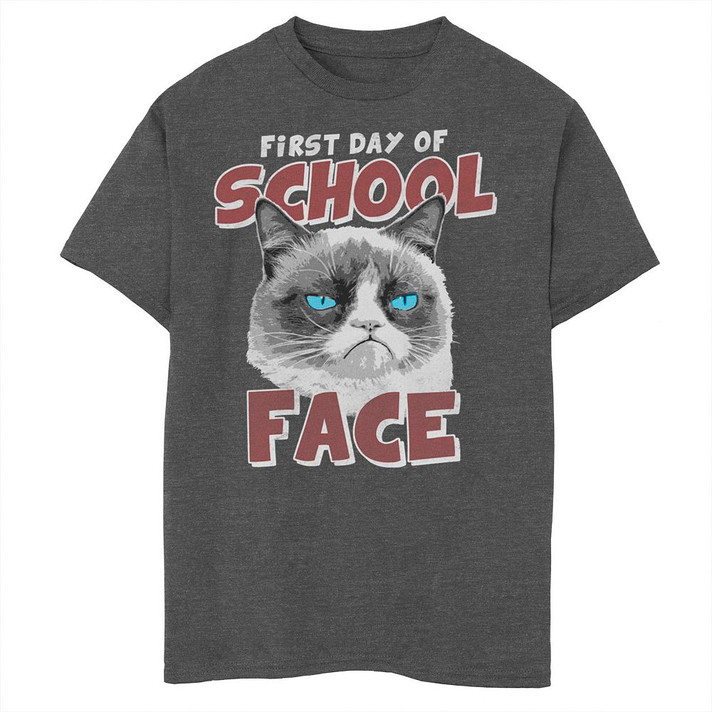 Boys 8-20 Grumpy Cat First Day Of School Cat Face Graphic Tee
