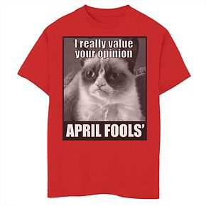 Boys 8-20 Grumpy Cat April Fools' Value Your Opinion Graphic Tee