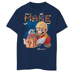 Boys 8-20 Nintendo Super Mario Maker 2 Mario Block Building Graphic Tee