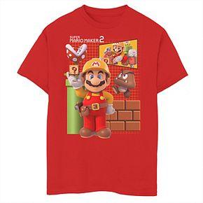 Boys 8-20 Nintendo Super Mario Maker 2 Game Play Grid Background Graphic Tee
