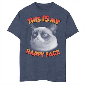 Boys 8-20 Grumpy Cat This Is My Happy Face Photo Graphic Tee