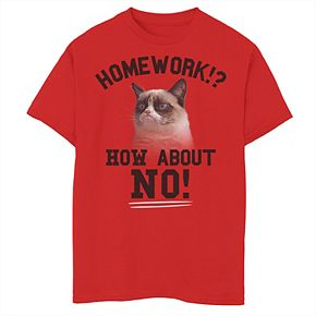 Boys 8-20 Grumpy Cat No Homework Graphic Tee