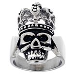 Men's Stainless Steel Skull Ring with Crown