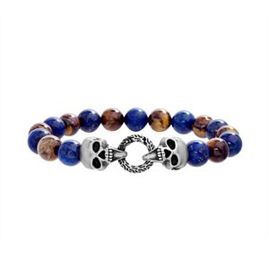 Men's Tiger's Eye & Lab-Created Lapis Lazuli Bead Skull Bracelet