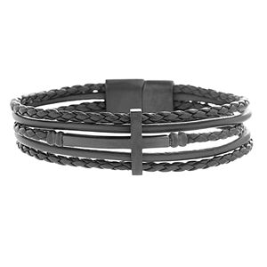 Men's Five Strand Black Leather Bracelet with Black Stainless Steel Cross