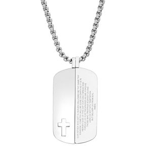 """Men's Stainless Steel """"The Lord's Prayer"""" Split Dog Tag Necklace"""