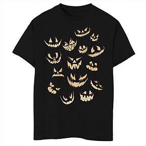 Boys 8-20 Halloween Jack-O'-lantern Pumpkin Faces Graphic Tee