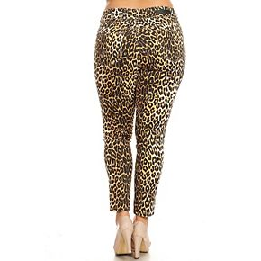 Plus Size White Mark Printed Cheetah Print Pants