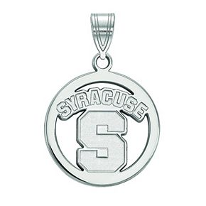 LogoArt Syracuse Orange Sterling Silver Rhodium Plated Medium Pendant In Circle