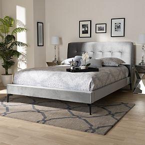 Baxton Studio Ingrid Silver Queen Bed
