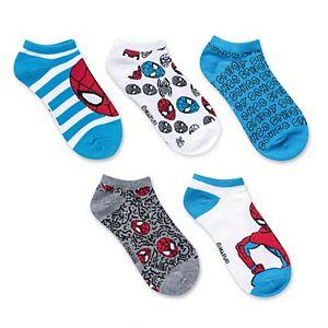 Boys Marvel Spider-Man 5-Pack No-Show Socks
