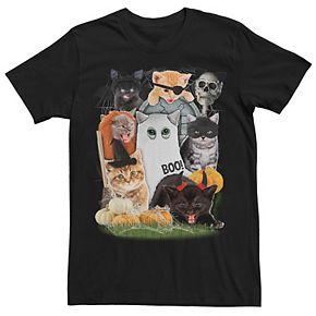 Men's Halloween Cat Collage Tee