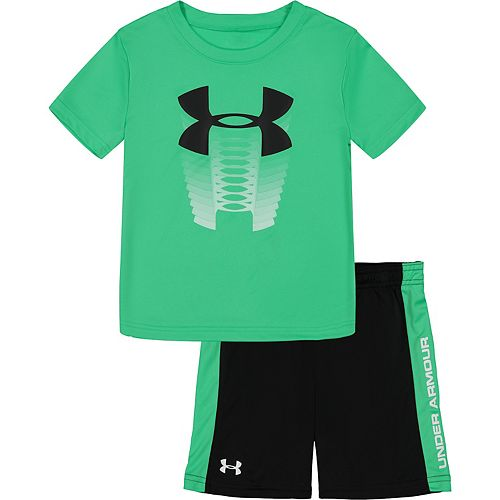 Toddler Boy Under Armour Rising Logo Graphic Tee & Striped Shorts Set