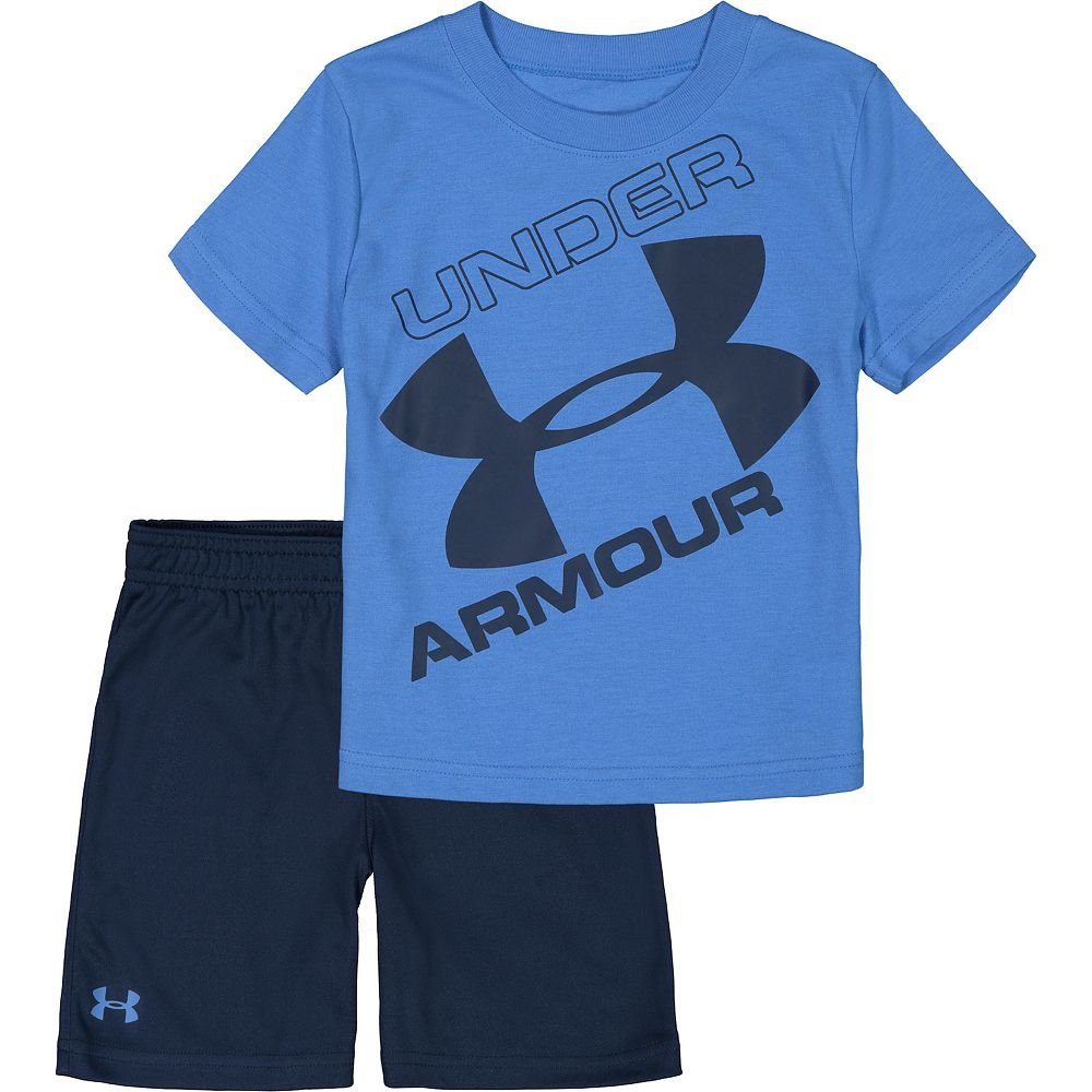 Toddler Boy Under Armour Tilted Big Logo Tee And Short Set