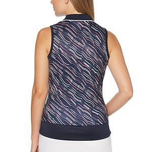 Women's Grand Slam Zig-Zag Stripe Print Sleeveless Polo
