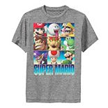 Boys 8-20 Nintendo Super Mario Character Stack Gradient Performance Tee