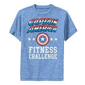 Boys 8-20 Marvel Captain America Fitness Challenge Weight Lift Performance Tee