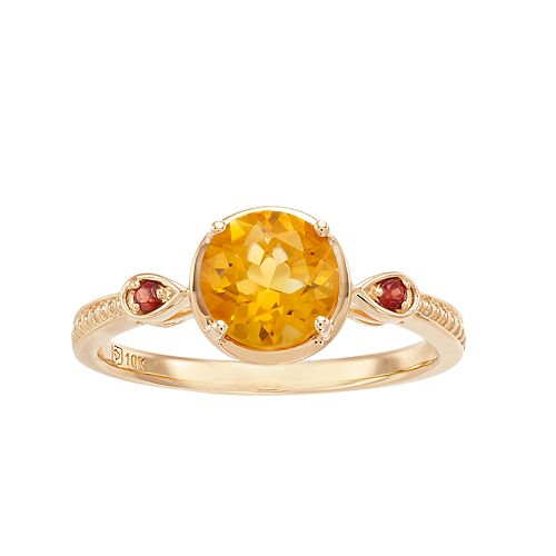 10K Gold Citrine & Garnet Ring