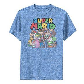 Boys 8-20 Nintendo Super Mario Full Cast Group Shot Classic Performance Tee