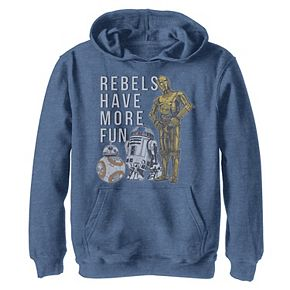 Boys 8-20 Star Wars Last Jedi Droids Rebels Have More Fun Gold Hoodie