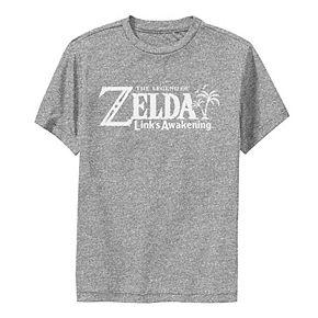 Boys 8-20 Nintendo Legend Of Zelda Links Awakening Palm Tree Green Text Logo Performance Tee