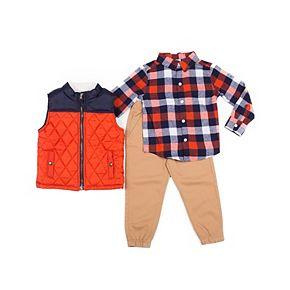 Baby Boy Little Lad 3 Piece Puffer Vest, Plaid Shirt & Jogger Pants Set