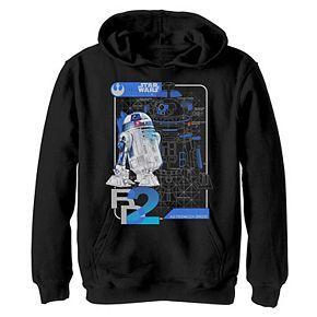 Boys 8-20 Star Wars Last Jedi R2-D2 Droid Unrendered Schematic Hoodie