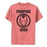 Boys 8-20 Marvel Iron Man Pumping Iron Logo Performance Tee