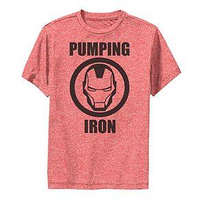 Boys 8-20 Marvel Iron Man Pumping Iron Logo Performance Tee