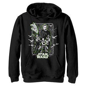 Boys 8-20 Star Wars Last Jedi Luke Rey Finn Poe Neon Green Hoodie