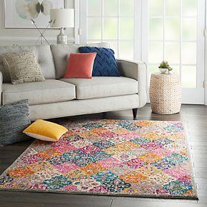 Nourison Passion Modern Quilt Multicolor Area Rug