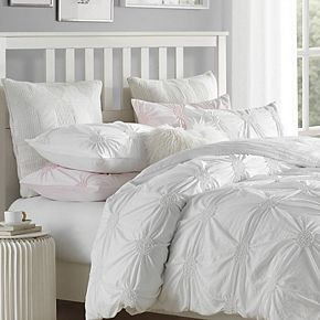 Charming Ruched Pintuck Rosette Duvet Cover Set