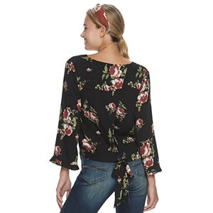 Juniors' Live To Be Spoiled Tie Back V-Neck Top