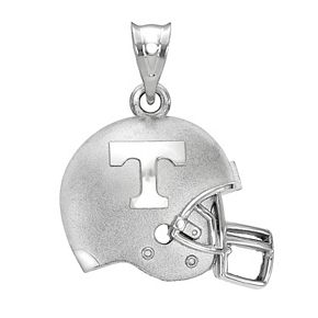 LogoArt Tennessee Volunteers Sterling Silver Rhodium Plated 3D Football Helmet with Logo Pendant