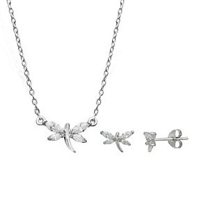PRIMROSE Sterling Silver Cubic Zirconia Dragonfly Stud Earrings and Necklace Set